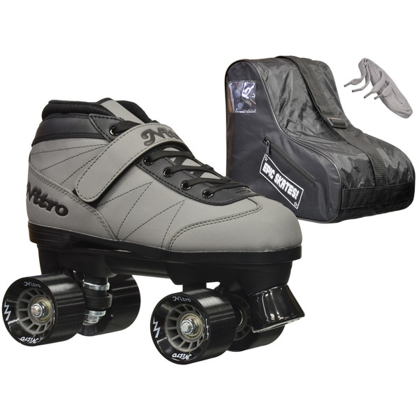 Epic Nitro Turbo Grey Quad Speed Roller Skates Package