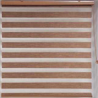 Upscale Designs Zebra Sheer Striped Brown Roller Blind