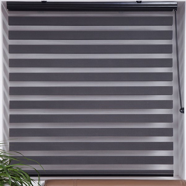 Upscale Designs Sheer Grey Striped Roller Blind (As Is Item)