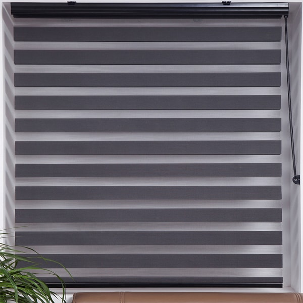 Upscale Designs Zebra Sheer Striped Dark Grey Roller Blind