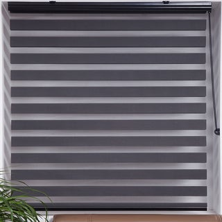 Upscale Designs Zebra Sheer Striped Dark Grey Roller Blind