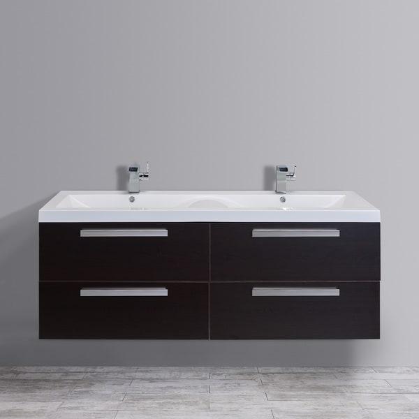Eviva Largo 57 Inch Wenge Modern Bathroom Vanity Set With Integrated White Acrylic Double Sink
