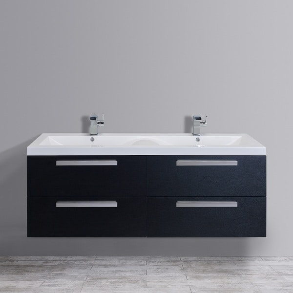 Eviva Largo 57-inch Black-Wood Modern Bathroom Vanity Set with Integrated White Acrylic Double Sink