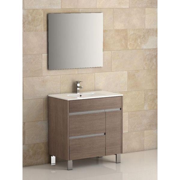 Eviva Tauro 32-inch Medium Oak Modern Bathroom Vanity Set with Integrated White Porcelain Sink