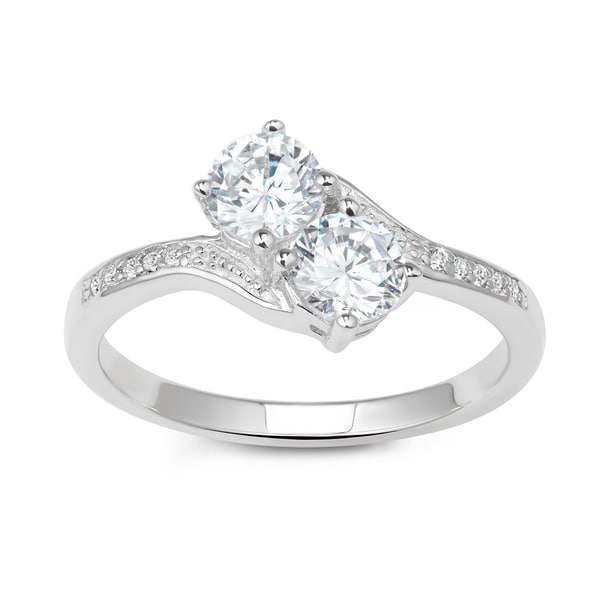 La Preciosa Sterling Silver Two-Stone Cubic Zirconia Engagement Ring