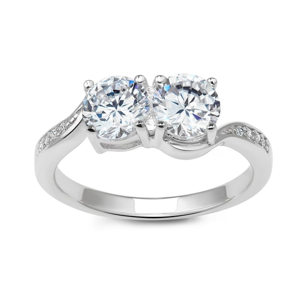 La Preciosa Sterling Silver Cubic Zirconia Two-Stone Engagement Ring