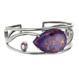 Sterling Silver Pear-cut Purple Mohave Turquoise and Amethyst Cuff