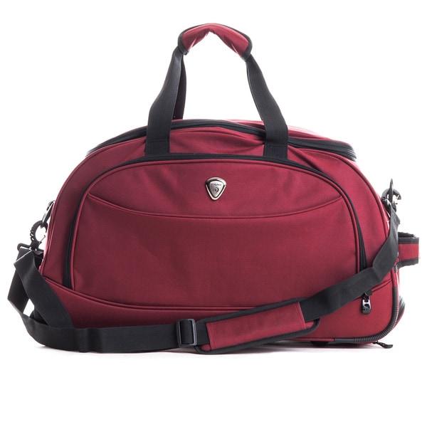 CalPak 'Plato' Burgundy 21-inch Carry-on Rolling Duffel Bag