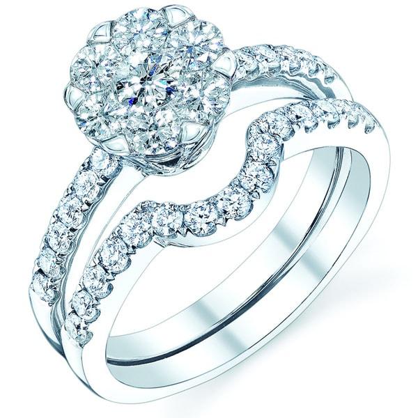 14k White Gold 9/10ct TDW Diamond Wedding Ring Set (H-I,VS1-VS2)