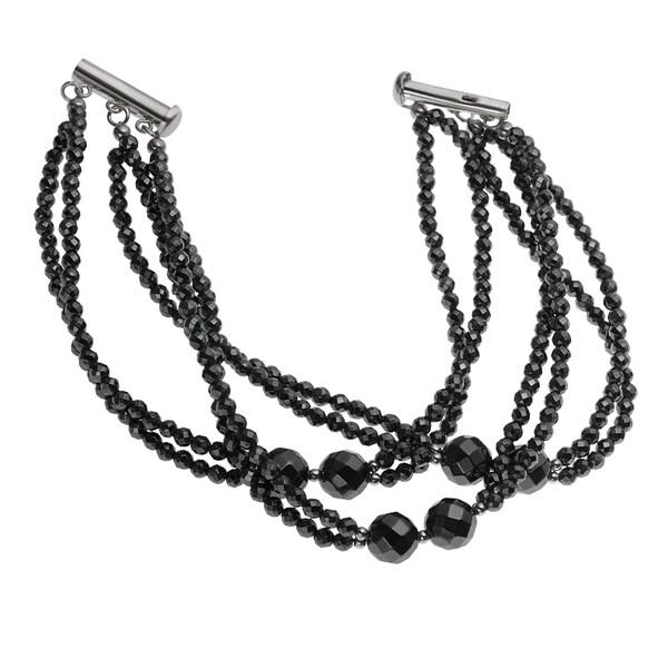 Sterling Silver Hematite Bead Bracelet