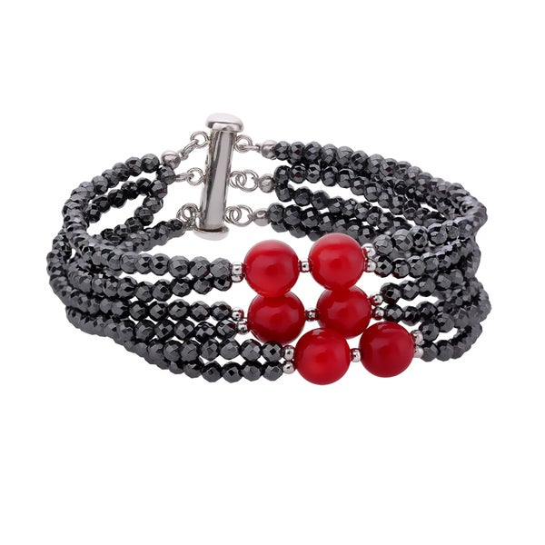 Sterling Silver Hematite and Coral Bead Bracelet