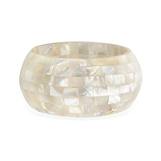 Rectangle-cut Monther-of Pearl Mosaic Bangle Bracelet