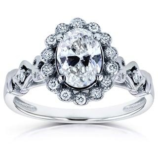Annello 14k White Gold 7/8ct TDW Oval Diamond Antique Engagement Ring (H-I, I2)