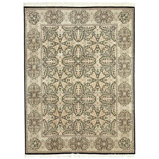 EORC 8988 Pak-Modern Black Hand-knotted Wool Rug (9'1 x 12'4)