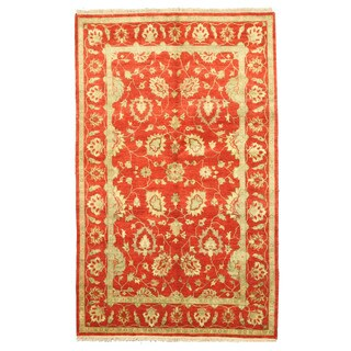 EORC Hand Knotted Wool Red Agra Rug (5'8 x 9')