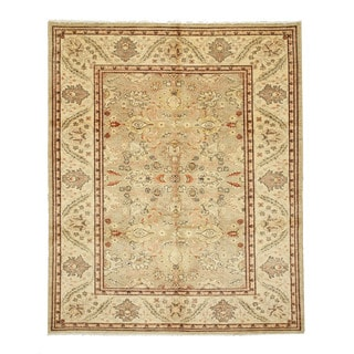 EORC 9450 Peshawar Beige Hand-knotted Wool Rug (8'1 x 9'9)