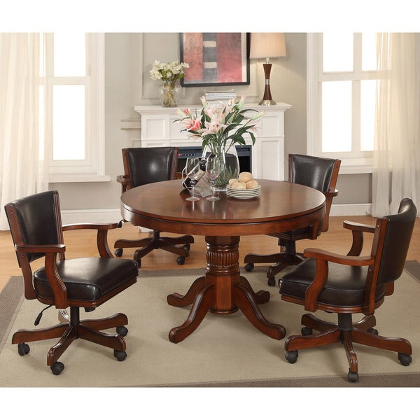 Furniture of America Preston 5-piece Chestnut 3-in-1 Poker Game Table Set 16917486