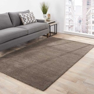 Solids Solids & Heather Pattern Brown/Ivory Wool Area Rug (9x12)