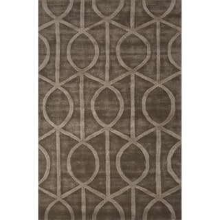 Contemporary Trellis, Chain And Tile Pattern Taupe/Brown Wool and Art Silk Area Rug (9x12)