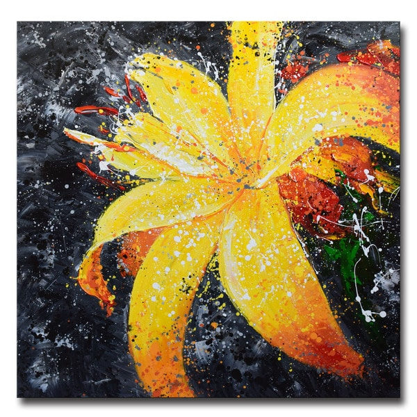 Design Art -Yellow Lily - Floral Art- Hand Painted -40 x 40