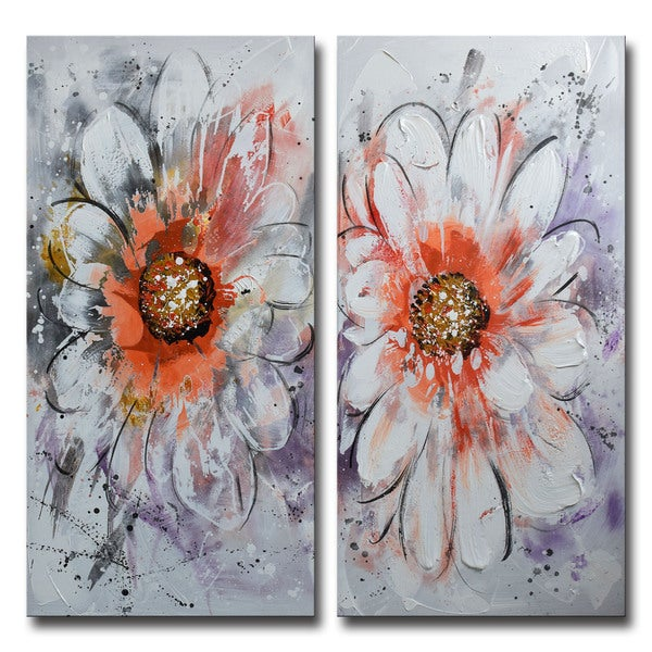 Design Art -Flower Power- Textured Floral Art- Hand Painted - 40 x 40
