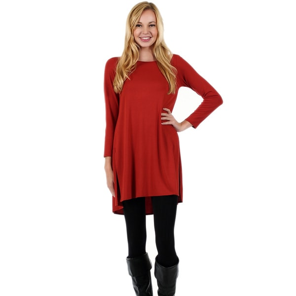 Firmiana Women's Long-Sleeve Orange Slit Bottom Tunic