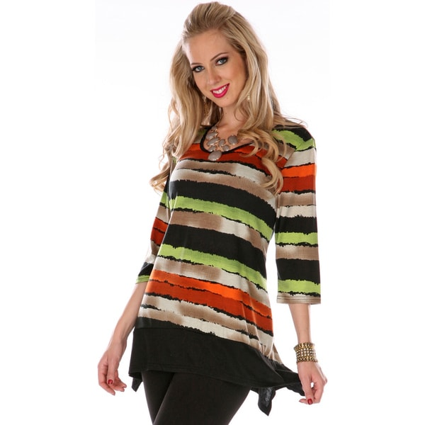 Firmiana Women's 3/4-Length Sleeve Orange Multi Striped Tunic