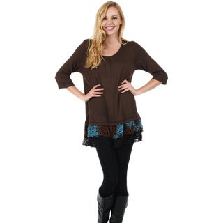 Firmiana Women's 3/4-Length Sleeve Blue and Brown Crochet Ruffle Tunic