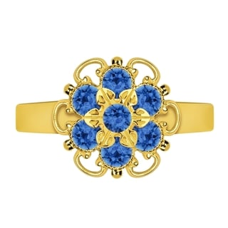 Lucia Costin Sterling Silver Blue Crystal Lovely Flower Ring