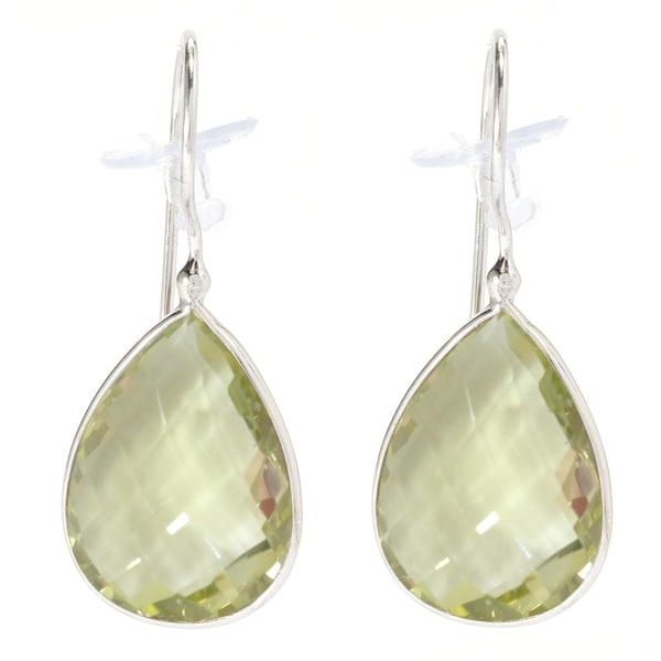 Sterling Silver Pear-Cut Lemon Quartz Tear Drop Earrings