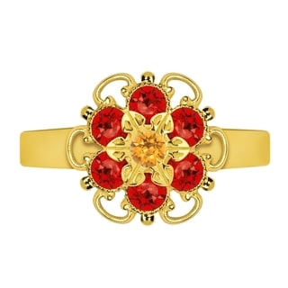 Lucia Costin Sterling Silver Yellow/ Red Crystal Twisted Accents Ring