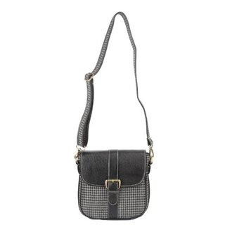 Ivory Tag Black Leather and Houndstooth Crossbody Bag (India)