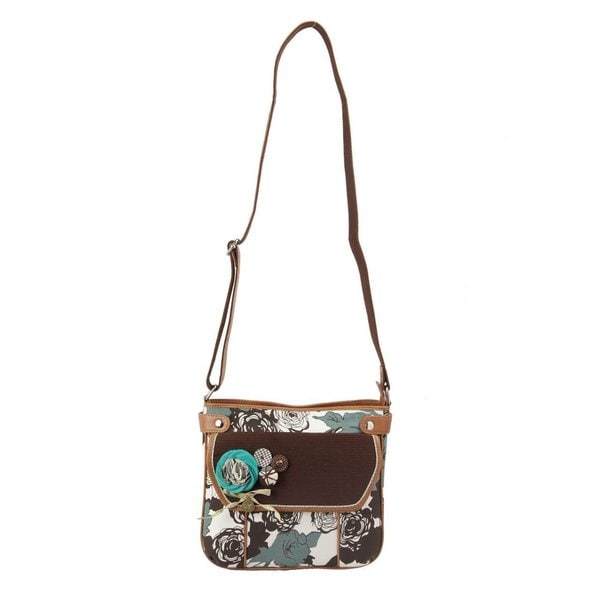 Ivory Tag Bold Floral Crossbody Bag (India)