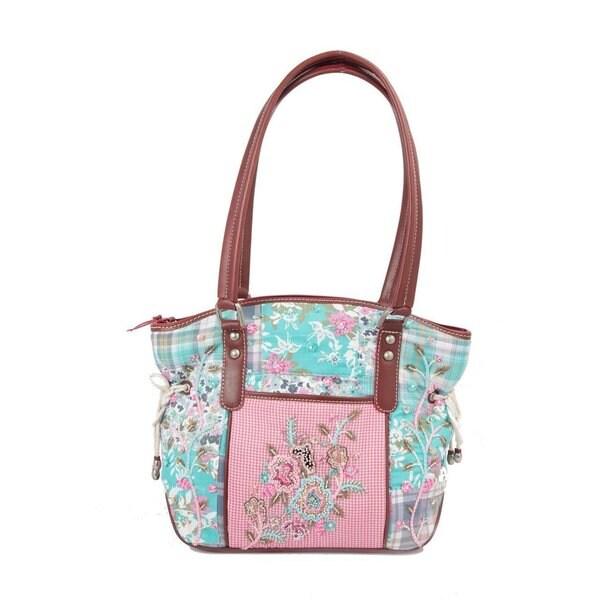Ivory Tag Patterned Melange Hand-embroidered Handbag (India)