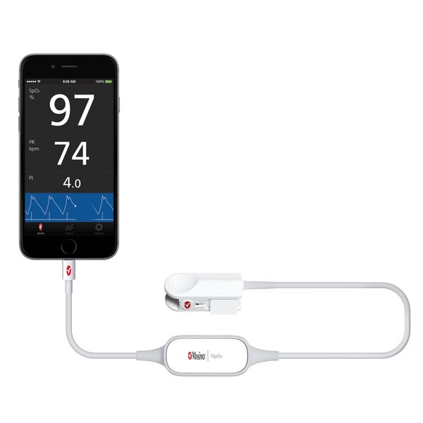 Masimo iSpO2 Fingertip Pulse Oximeter with Lightning Connection and Large Sensor for Apple iOS Device
