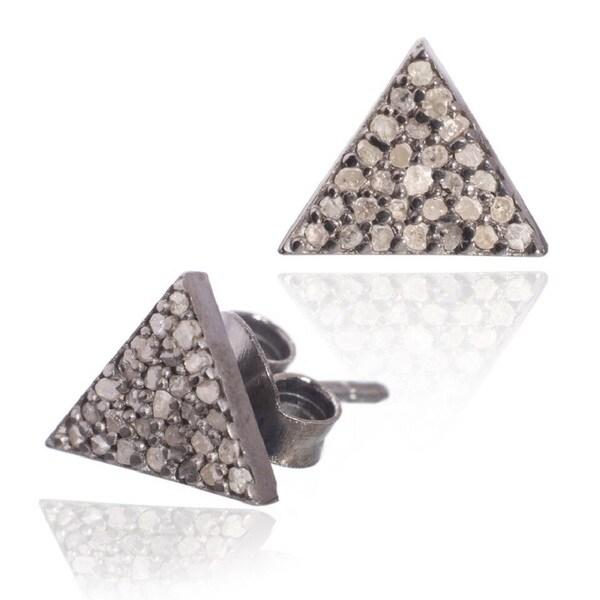 Pori Sterling Silver 2/5ct TDW Triangle Diamond Stud Earrings (H-I, I1-I2)