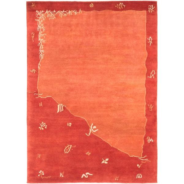ecarpetgallery Kathmandu Brown Wool Rug (5'7 x 7'9)