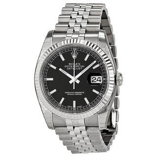 Rolex Men's Datejust Black Dial Watch