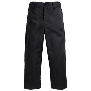 Sportoli Boy's Flat Front Adjustable Waist Twill Chino Long Uniform Dress Pants