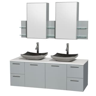 Wyndham Collection Amare Dove Grey White Man-made Stone Top 60-inch Double Vanity with Medicine Cabinet and Altair Sink