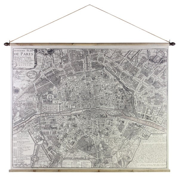 Canvas Painting of Eighth Plan of Paris with 2 Wood Rods and Rope Hanger Cream