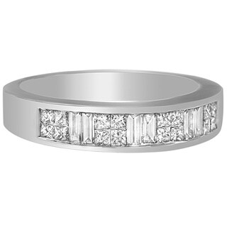 14k White Gold 7/8ct TDW Princess and Baguette Diamond Ring (H-I, SI1-SI2)