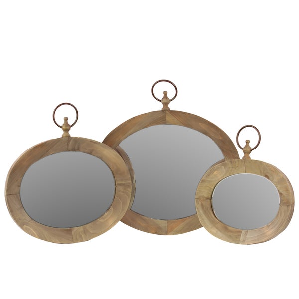 Natural Finish Wooden Mirror (Set of Three)
