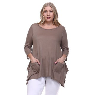 Women's Plus Size Ribbed Knit Pocket Front Pointed Hem Tunic