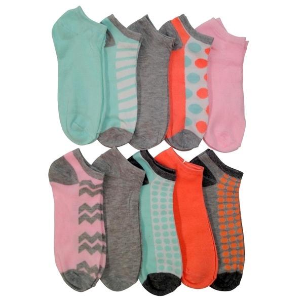 Sockbin Women's Summer Pastel Low-Cut Ankle Socks (Pack of 10)