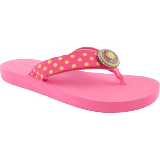 Lindsay Phillips Women's Lulu Neon Pink Flip Flops with Detachable Straps