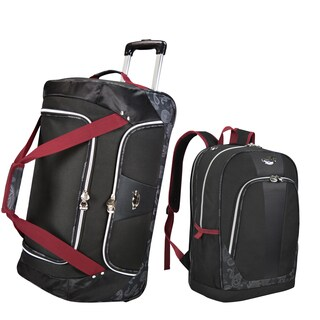 Bret Michaels by Traveler's Choice Classic Road 2-piece Rolling Duffel and Laptop Backpack Travel Se