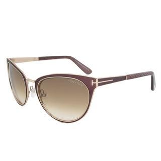 Tom Ford Women's TF 373 Nina 48F Black/ Gold Metal Cat Eye Sunglasses