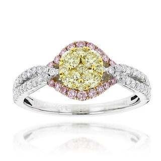 Luxurman 14k White Gold 1 1/5ct TDW 3-color Diamond Engagement Ring (G-H, VS1-VS2)
