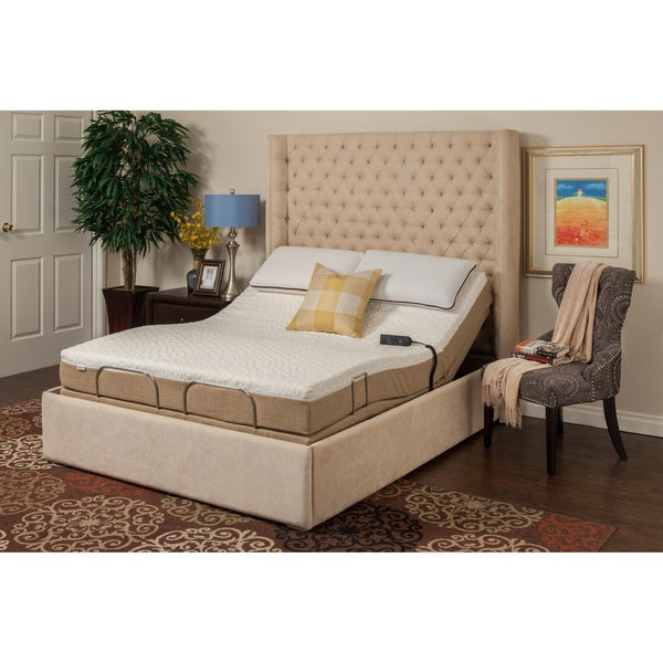 Sleep Zone M-100 Dum Dum Stone Split King Adjustable Bed with Wired Remote and Side Retainer Bar
